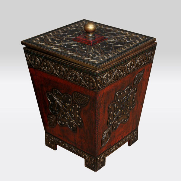 Wooden Dustbin with Gold Accents- Red