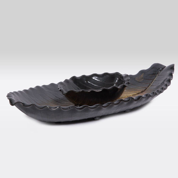 Oblong Leaf Tray with Dipping Bowl