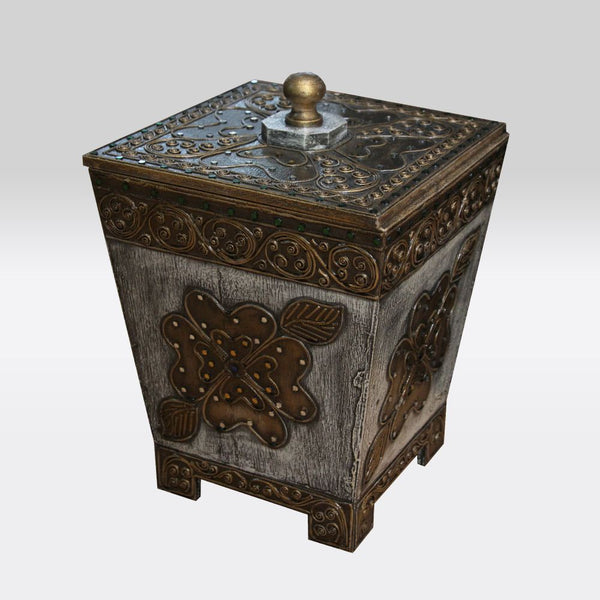 Wooden Dustbin with Gold Accents- White