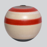 Ceramic Round Vase - Red Cream