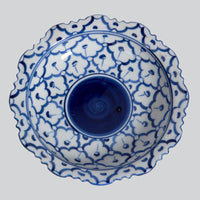 Cobalt Blue and White Bowls on Stand- Medium