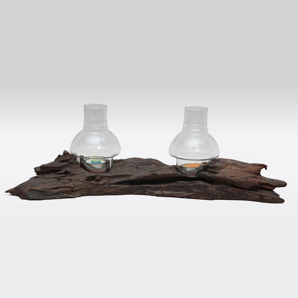 Driftwood Two Tea Lights Stand