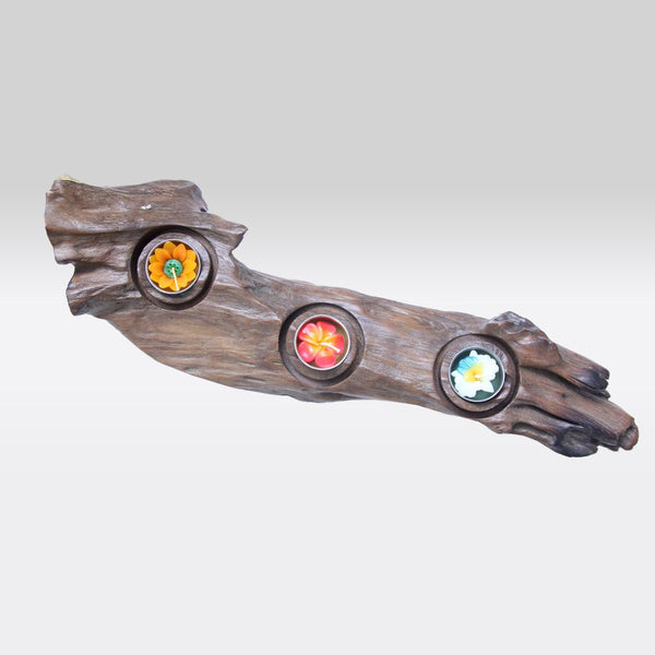 Flat Driftwood Three Tea Light Stand