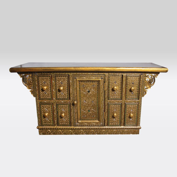 Gold and Green Ornate Low Cabinet