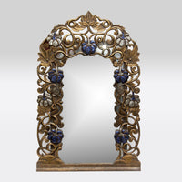 Carved Wooden Framed Mirror with Blue Embellishments