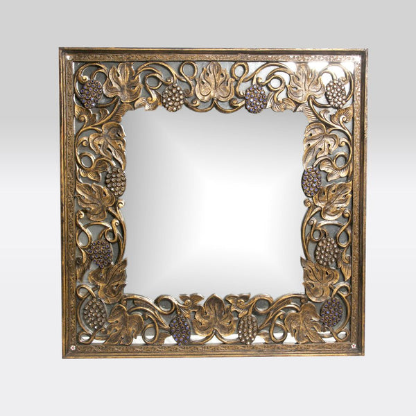 Carved Wooden Framed Mirror with Green Embellishments