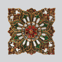 Carved Wood Embellished Wall Panel- Square