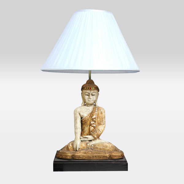 White and Bronze Sitting Buddha Lamp