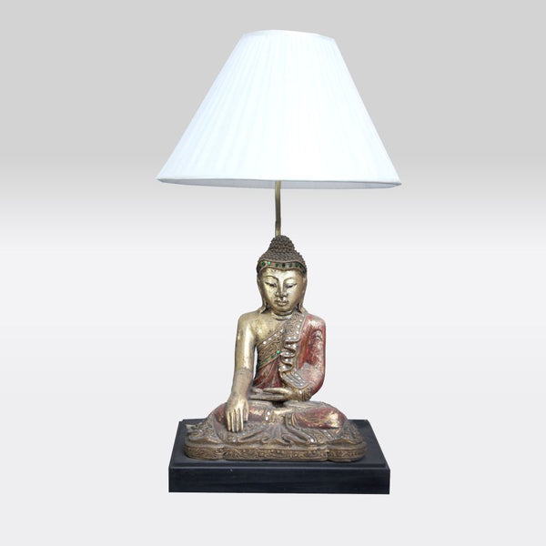 Red and White Sitting Buddha Lamp