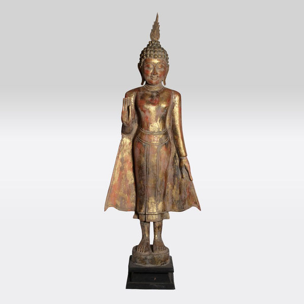 Pink and Gold Wooden Standing Buddha