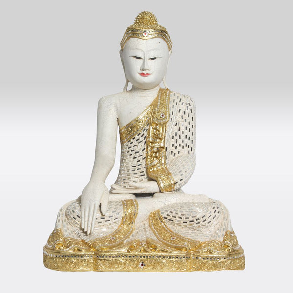 Wooden Sitting Buddha in Mirrorwork and Gold