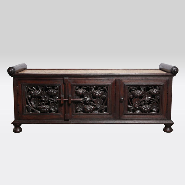 Carved Wooded Low Shoe Cabinet