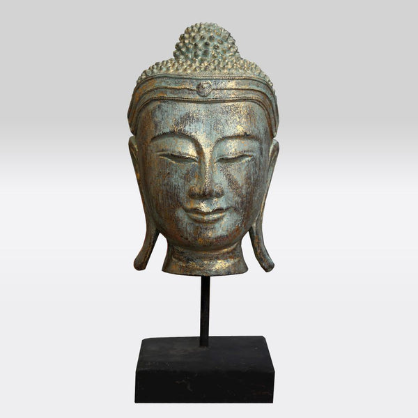 Green and Gold Buddha Bust