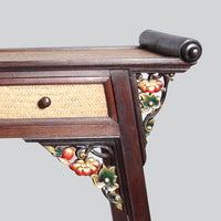 Wood Console Table with Etched Corners- Big