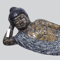 Reclining Buddha Lamp- Silver and Gold