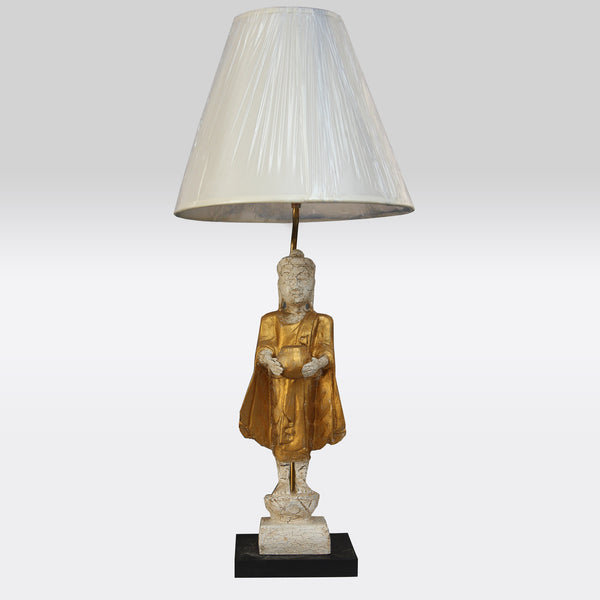 White and Gold Buddha Lamp