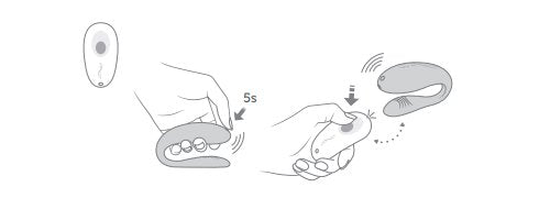 Illustrated image shows the We-Vibe Unite being paired with the included remote. It shows a hand pressing the Unite button down for 5 seconds - and then the button being pressed down on the remote.