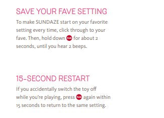 Save Setting Options on the Fun Factory Sundaze