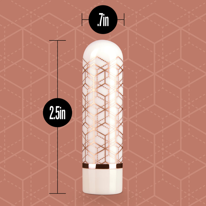 "Measurements of the Blush Glitzy rose gold vibrator which is 2.5"" in length with a width of 0.7"" 