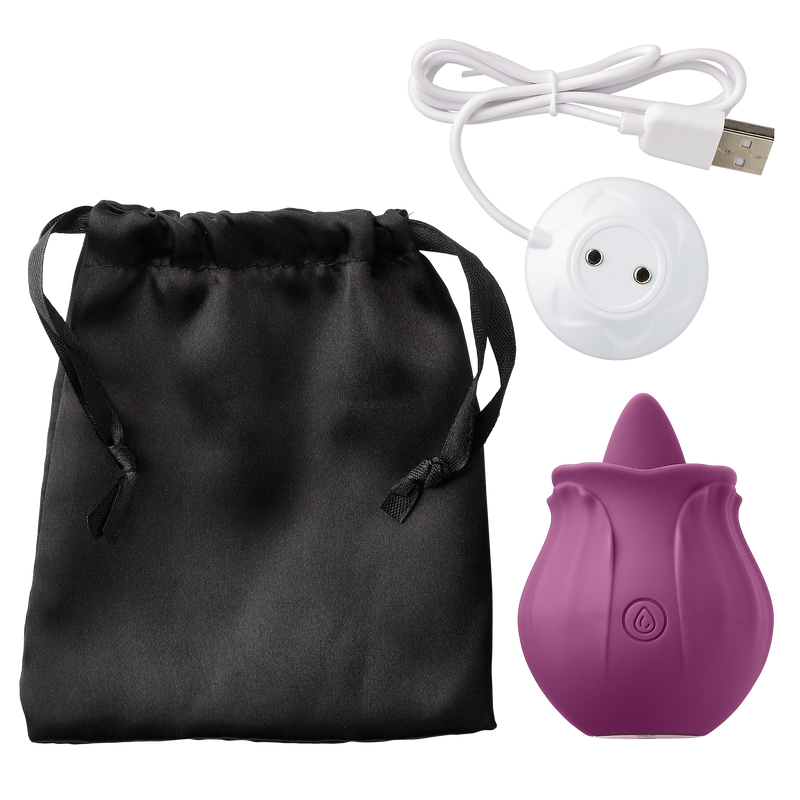 Lay flat image shows the Cloud 9 Flutter Tongue vibrator, vibrator storage bag, and vibrator charging cable | Kinkly Shop