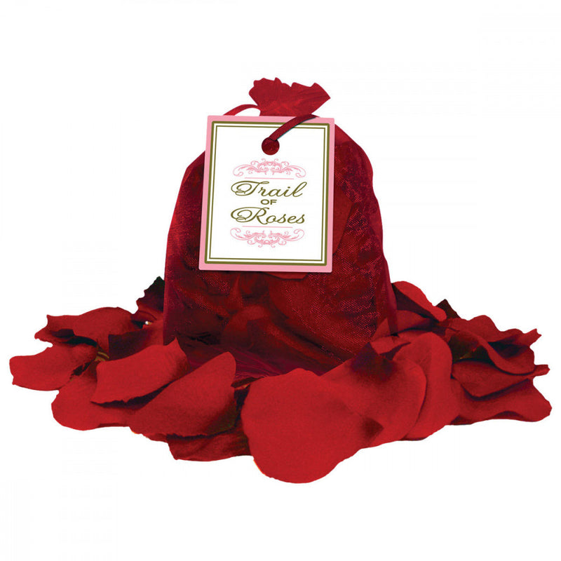 Bag of fake rose petals in a drawstring bag with the Trail of Roses | Kinkly Shop