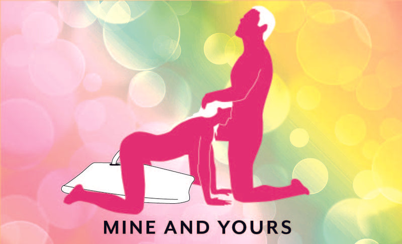 Mine and Yours sex position which displays a person on all fours on top of the Liberator Humphrey that holds a dildo while they orally service their partner kneeling in front of them | Kinkly Shop