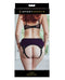 Packaging of the Sportsheets Lush Purple Strap On which shows the butt of a person wearing the strap on harness - Kinkly Shop