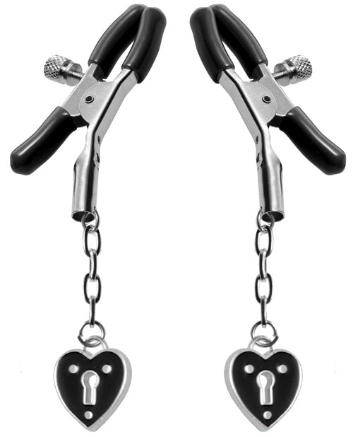 Master Series Charmed Heart Padlock Nipple Clamps | Kinkly Shop