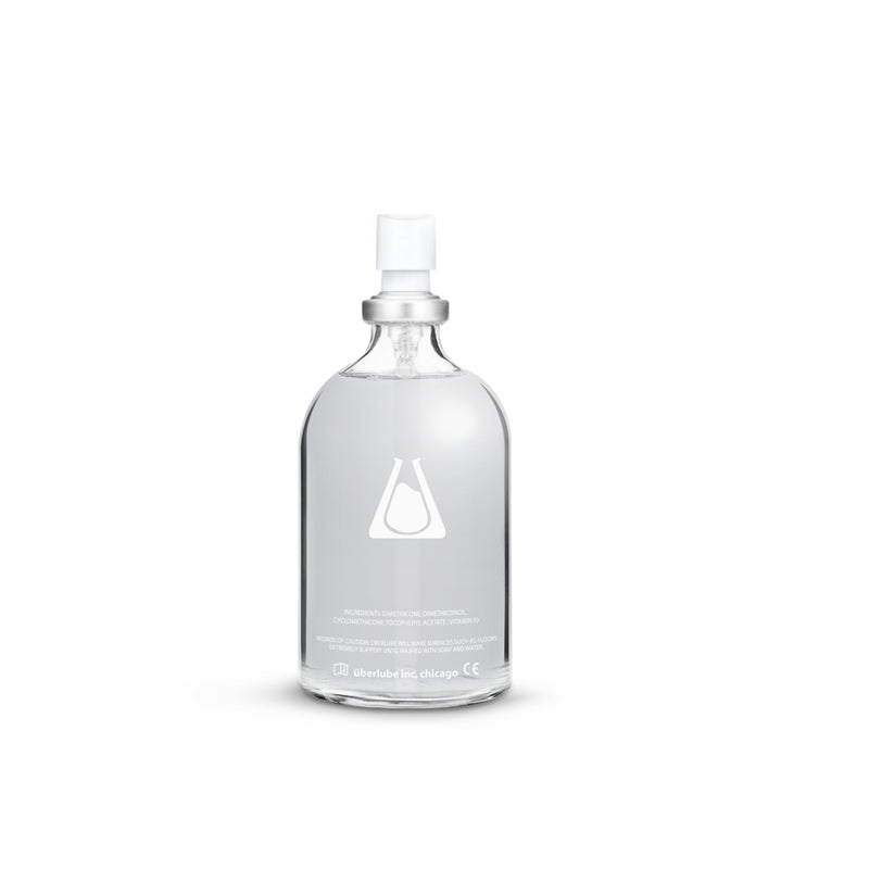 Back-side of the see-through Überlube 100ml waterproof sex lube | Kinkly Shop