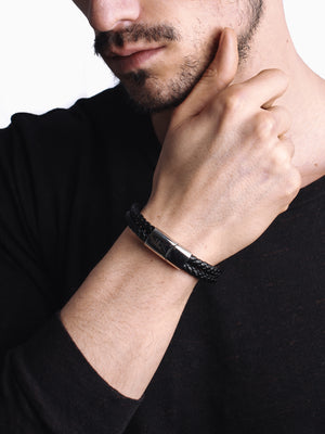 "Bracelet ""Ascension"" Cuir noir Véritable"