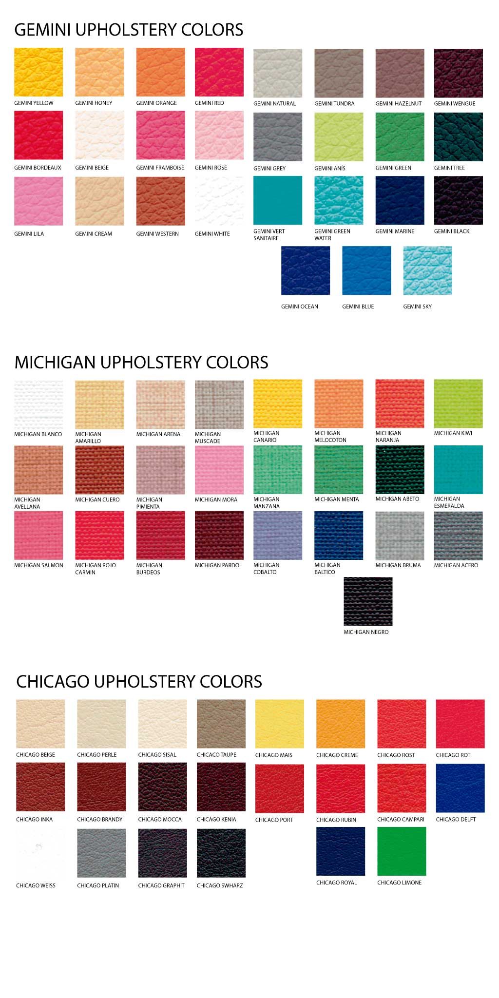 Upholstery Colors | ARREGON® Original Pilates Equipment