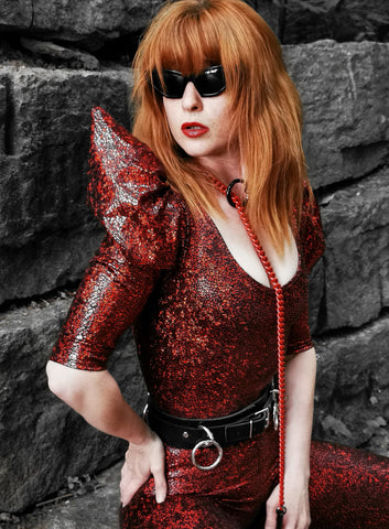 Lena Quist Signature Catsuit with Finerblack Red Chain Collar