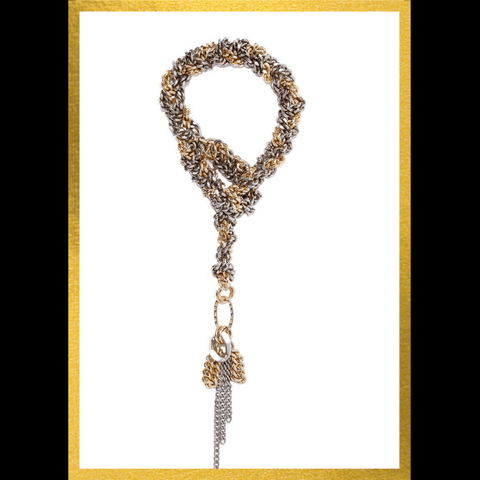 knot braided chain chunky statement necklace lanvin style