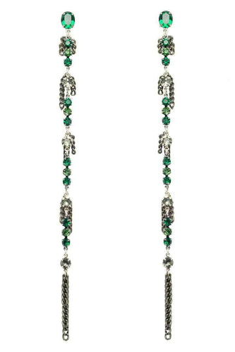 ARWEN Long Earrings - Crystal Green
