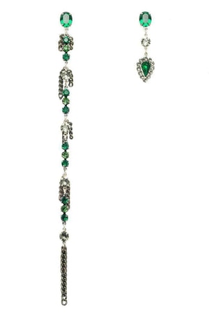 ARWEN Asymmetric Earrings - Crystal Green
