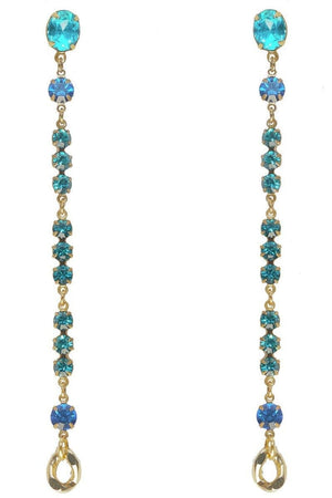 long blue turquoise swarovski crystals earrings