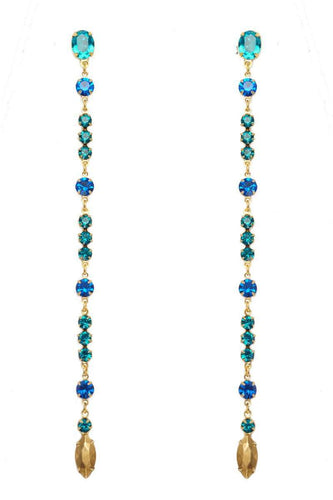 TURQUOISE Long Earrings - Crystal Blue