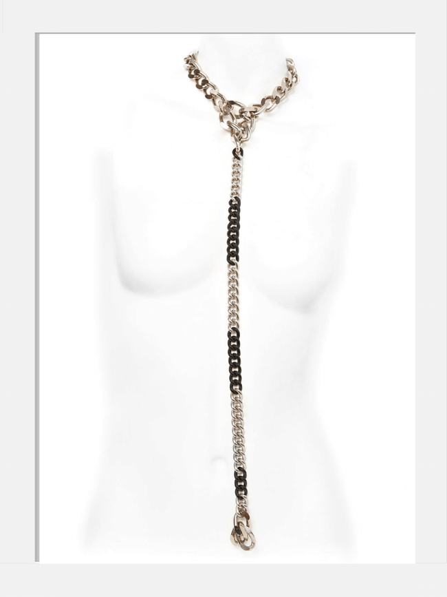 Long gothic chunky chaion choker long leash indie rock