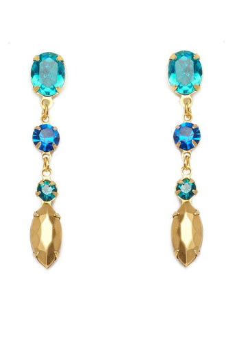 TURQUOISE Teardrop Earrings - Crystal Blue