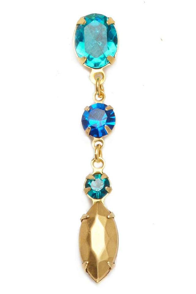 TURQUOISE Asymmetric Earrings - Crystal Blue