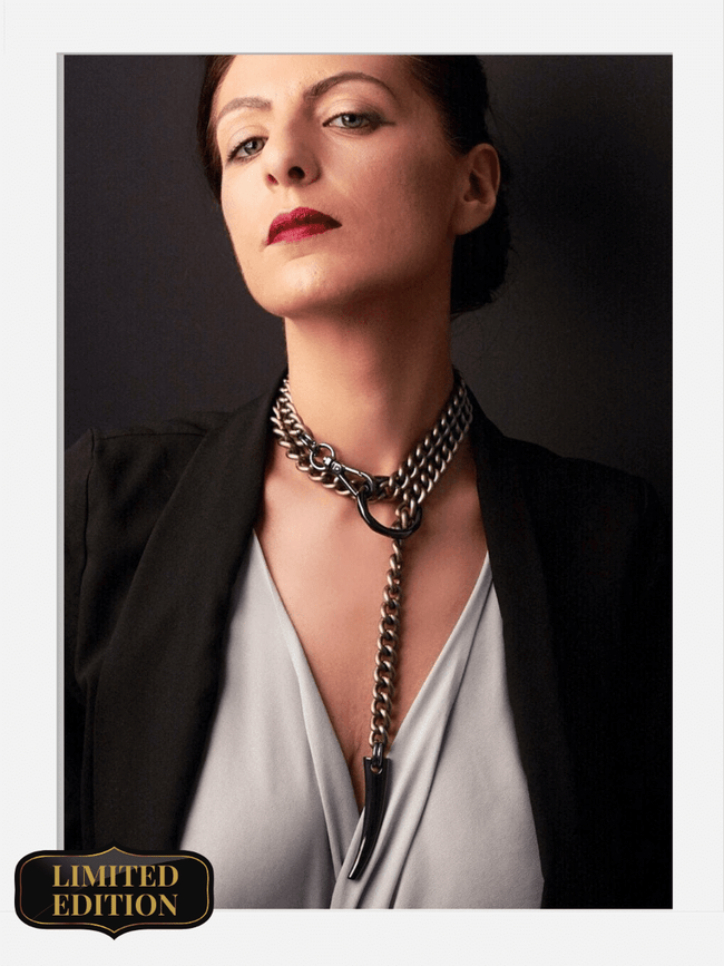 vintage long chain collar satin gunmetal