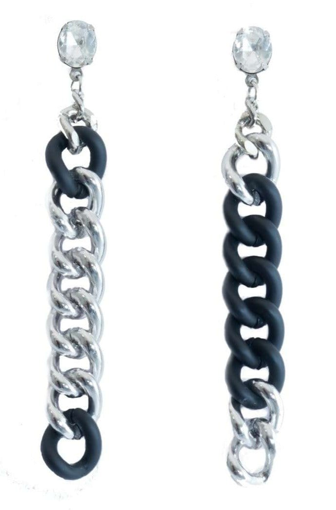 mismatched bicolor link chain earrings