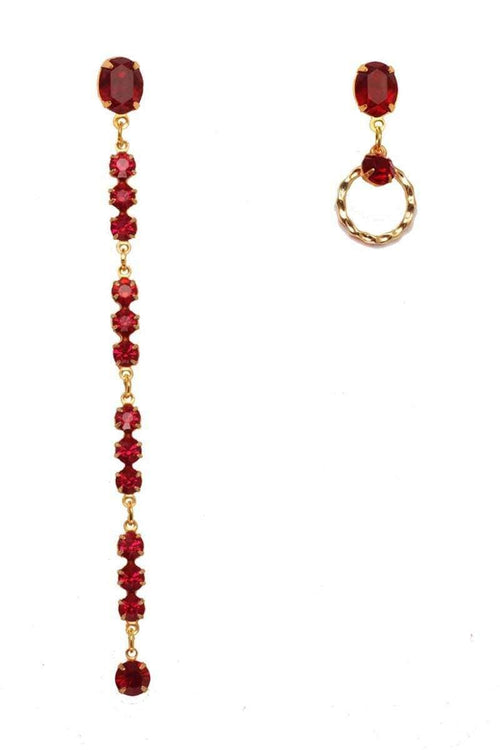 RUBY Asymmetric Earrings - Crystal Red