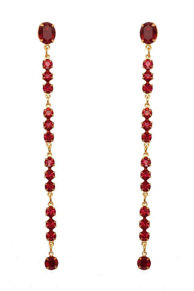 RUBY Long Earrings - Crystal Red
