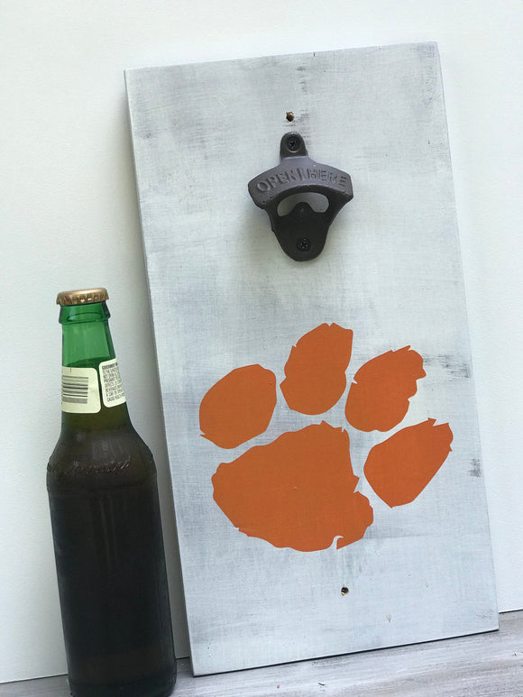 South Carolina Clemson Tigers Bottle Opener - Bottle Opener Wall Mount - Beer Gifts - Clemson Gift - Groomsman Gift - Housewarming Gift