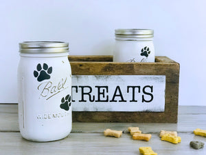 Mason Jar Dog Treat Box, Dog Treat Jar, Puppy Treats, Mason Jars, Barn Wood, New Puppy Gift, New Pet Gift, Dog Treat Container, Paw Print