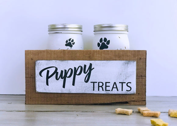 Mason Jar Puppy Treat Box, Dog Treat Jar, Puppy Treats, Mason Jars, Barn Wood, New Puppy Gift, New Pet Gift,  Dog Treat Container, Paw Print