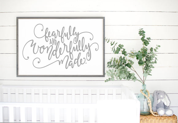 Fearfully And Wonderfully Made Sign | Framed Wood Sign | Nursery Decor | Nursery Wall Art | Sign Above Crib | Psalm 139 | Religious Sign