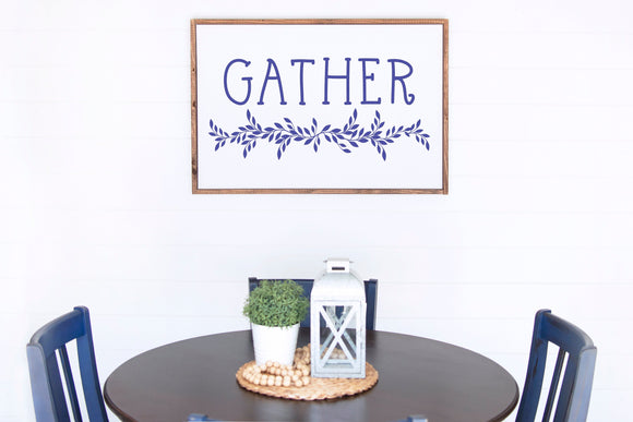 Gather Sign | Housewarming Gift | Framed Wood Sign | Kitchen Sign | Kitchen Decor | Gather Sign For Dining Room | Gather Sign For Kitchen