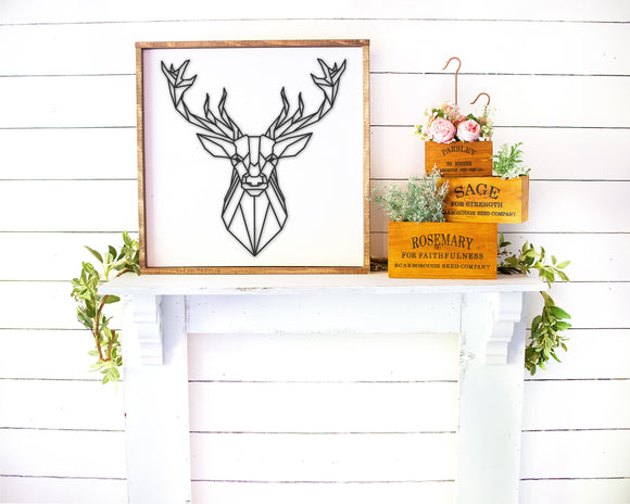 3D Sign | Deer Head Sign | Framed Wood Sign | Personalized Home Decor | Deer Silhouette | Gift For Him | Deer Decor